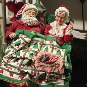 Vintage Mr and Mrs Claus Relaxing on the Couch